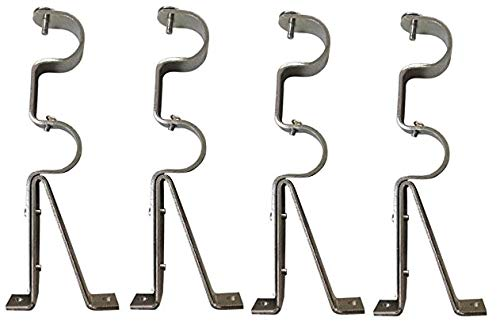 (Double Curtain Rod Brackets - Silver (set of 4) - TEJATAN (Also known as - Double Drapery rod bracket set for Draperies / adjustable double curtain rod)