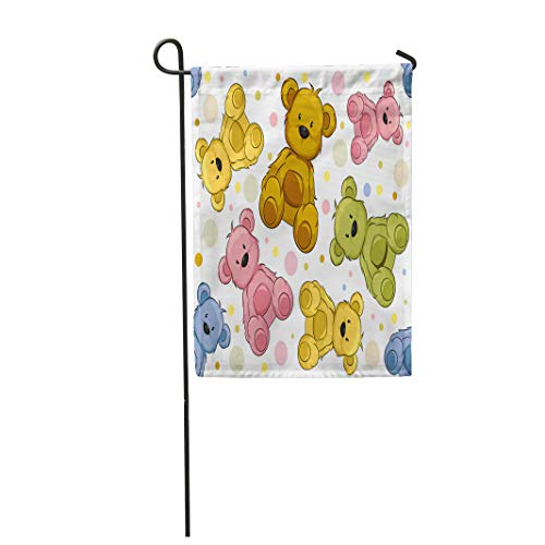 Semtomn Garden Flag Pattern Featuring Teddy Bears Cute Toy Cartoon Clip Clipart 12
