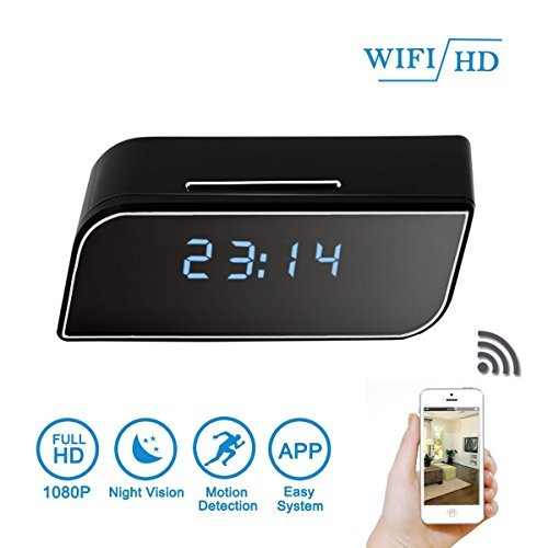 DareTang 1080p Hd Wifi Clock Hidden Camera with Night Vision,Wireless Motion Detection Activated Spy Home Security Nanny Cam with Free Ios Android APP by DareTang