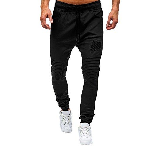 HULKAY Basic Jogger Pant for Men Classic Drawstring Zipper Pockets Bottoms Training Running ()