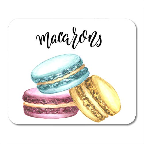 Emvency Mouse Pads Watercolor of Macaron Cakes Colorful Classic French Dessert Pink Blue Mint and Yellow Pastry Hand Mousepad 9.5
