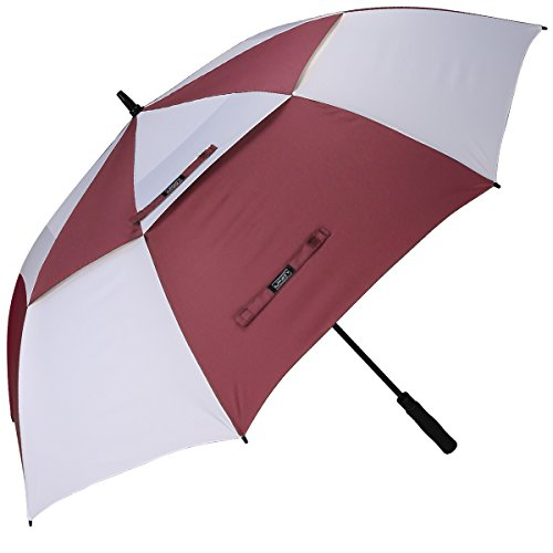 Golf Stick Umbrella - G4Free 62 Inch Automatic Open Golf Umbrella Extra Large Oversize Double Canopy Vented Windproof Waterproof Stick Umbrellas(Wine Red/White)