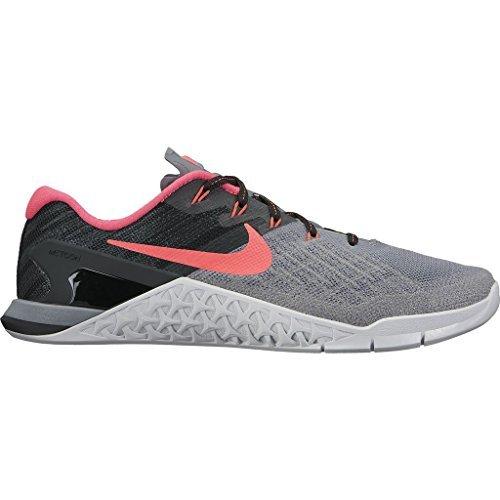 Nike Women's Metcon 3 Training Shoe Cool Grey/Solar Red-Black-Pure Platinum Size 10 (Nike Cross Bionic Shoes Women)