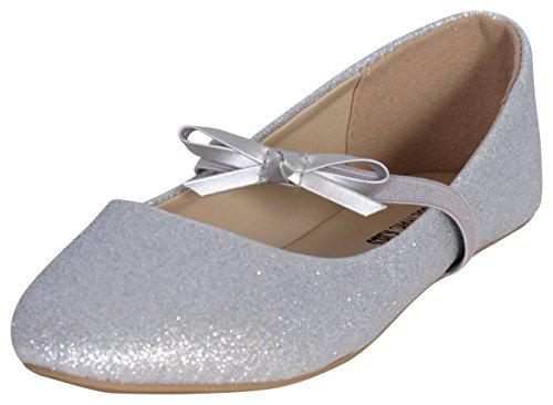 Eddie Marc Girls Glitter Ballet Flats, Silver, Size ()