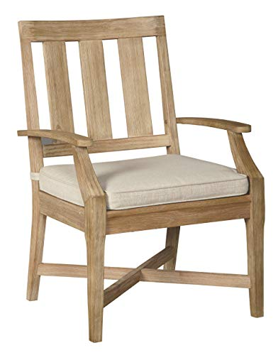 Ashley Furniture Signature Design – Clare View Outdoor Dining Arm Chairs – Set of 2 – With Cushions – Eucalyptus Wood – Beige