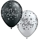 BLACK AND SILVER ELEGANT HAPPY BIRTHDAY BALLOONS PACK OF 10