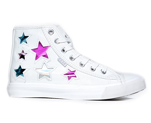 Sneaker Di Alta Qualità Con Lacci E Pizzo - Casual Walking Metal Star - Klutch By Klutch Star White