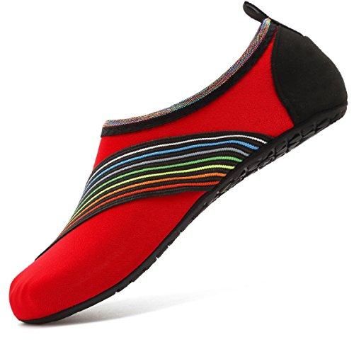 VIFUUR Water Sports Shoes Barefoot Quick-Dry Aqua Yoga Socks Slip-on for Men Women Kids XidaiRed-36/37