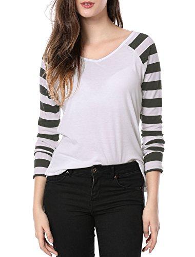 Allegra K Women's Striped Long Raglan Sleeves V Neck Tee Shirt S White Grey
