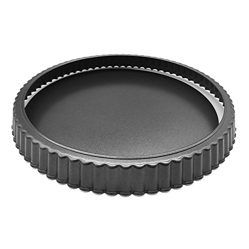 "HOMOW Nonstick Heavy Duty Tart Pan With Removable Bottom, Removable Loose Bottom Quiche Pans, Pie Pan (10""x1"