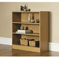 Decorative 32H Wide 3-shelf Oak Bookcase,with 1 Fixed Shelf and 2 Adjustable Shelves, Made of Laminated Particle Board Comes in Classic Finish