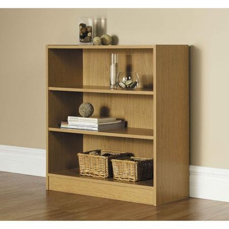 Decorative 32''H Wide 3-shelf Oak Bookcase,with 1 Fixed Shelf and 2 Adjustable Shelves, Made of Laminated Particle Board Comes in Classic Finish