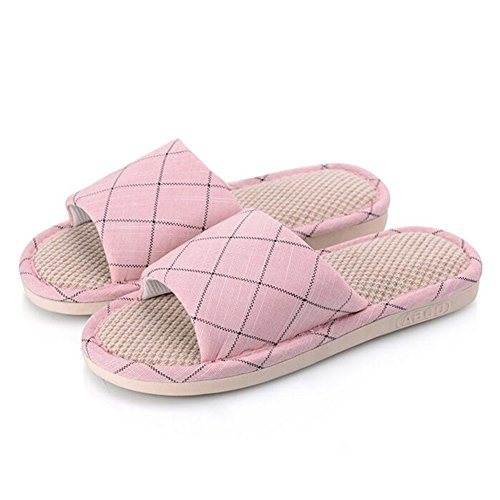 Flax Cotton Buganda Casual Slippers Open Slippers House Indoor Pink Slip Slippers Non Mens Womens Outdoor Toe HrxqEtr