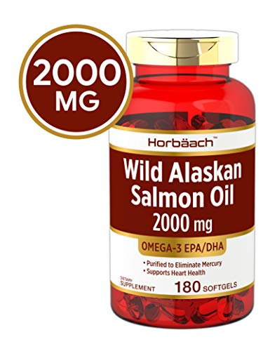 Wild Alaskan Salmon Fish Oil 2000 mg | 180 Softgel Capsules | Gluten Free, Non-GMO | High Potency | Excellent Source of Omega-3 Fatty Acids EPA and DHA | by Horbaach