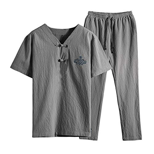 BSGSH Mens Outfits 2 Piece Casual Cotton Linen Short Sleeve Shirts Tops and Pants Yoga Clothes