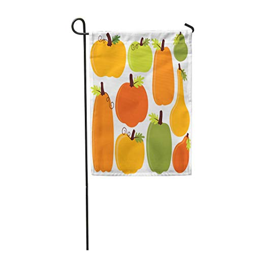 Tarolo Decoration Flag Orange Harvest Fall Autumn Pumpkins Yellow Food Halloween Healthy Holiday Nature Thick Fabric Double Sided Home Garden Flag 12