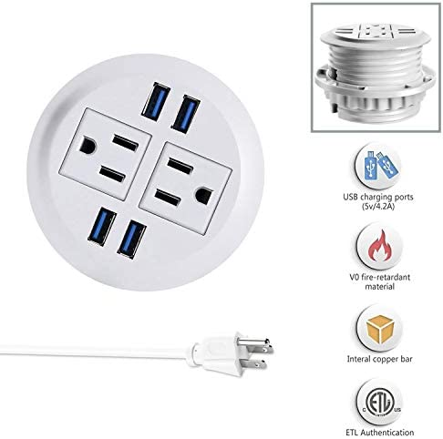 Power Grommet Hidden Power Socket with USB Port 2 Plug US 2 USB 6.5ft Cord