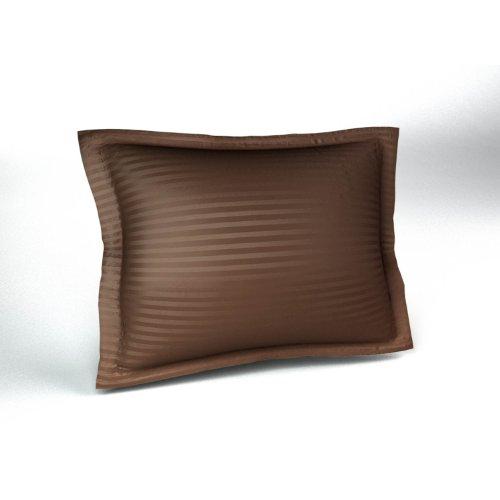 Harmony Lane Sateen Stripe Tailored Pillow Sham, Standard Size, Brown