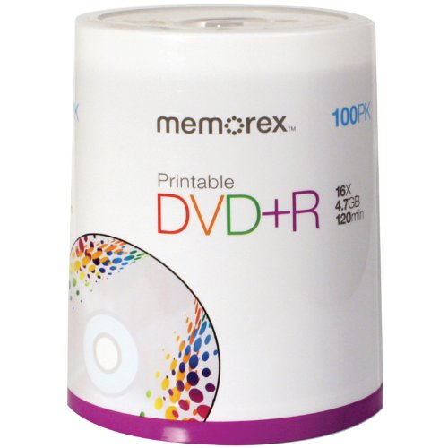 Memorex DVD plus R 16x 4.7GB 100 Pack Spindle Printable by Memorex