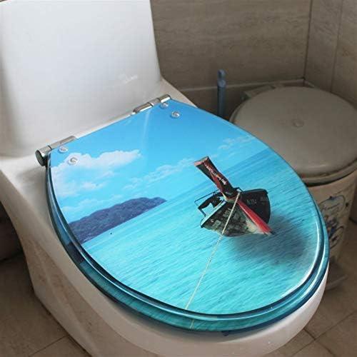 RBZCCP 便座樹脂UVO汎用海洋絵画肥厚降順サイレント便座40-48 * 33〜38センチメートル ほとんどのトイレに適合
