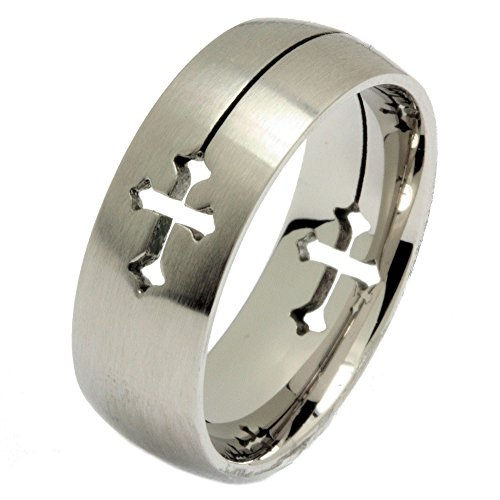 MJ Metals Jewelry Laser Cut Cross Ring 316L Surgical Grade Stainless Steel 8mm Size 10
