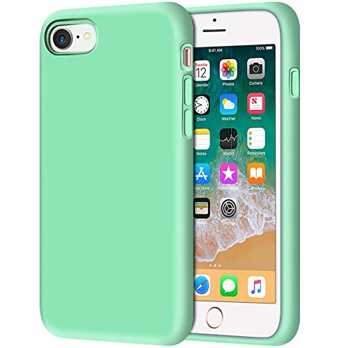 iPhone 8 Case, Anuck Non-Slip Liquid Silicone Gel Rubber Bumper Case with Soft Microfiber Lining Cushion Hard Shell Shockproof Full-Body Protective Case Cover for Apple iPhone 7/8 4.7