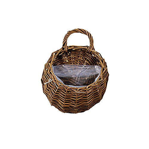 LVOERTUIG Handmade Wicker Hanging Flower Basket Rattan Plant Vine Wall Basket for Home Wedding Party Decoration (L,#1) by LVOERTUIG