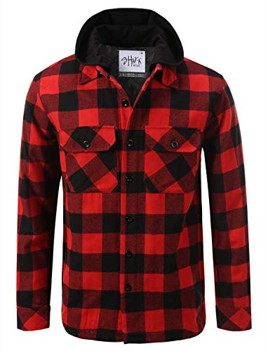 Shaka Wear FFJ1002_XL Hooded Flannel Jacket Quilted Iined Red/Black 1X