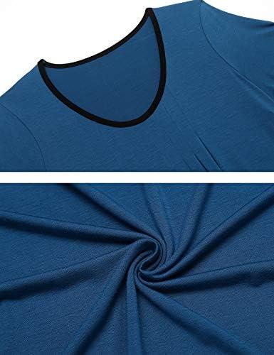 Ekouaer Women's Nightgown Short Sleeve Sleepwear Comfy Sleep Shirt Pleated Scoopneck Nightshirt S-XXL
