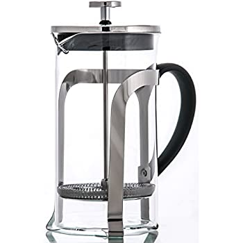 French Coffee Press & Tea Maker 8 cup - Heat Resistant Borosilicate Glass Carafe - with Triple Filters - 34 Oz