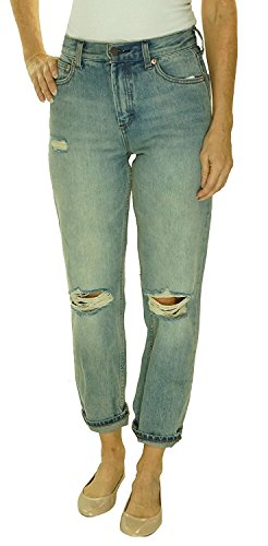 Free People Syxx Ripped Denim Wash Boyfriend Denim Blue (31) by Free People