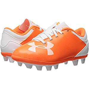 Under Armour Kids Unisex UA Spotlight DL FG-R Jr. Soccer (Toddler/Little Kid/Big Kid) Blaze Orange/White 3.5 M US Big Kid