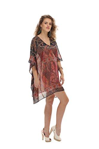 D G PRINTS FAB Women's Kaftan Short Beachwear Swimwear Bikini Cover ups Beach Dress ()