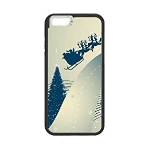 Durable Hard cover Customized TPU case Santa Claus and Raindeer iPhone 6 Plus 5.5 Inch Cell Phone Case Black