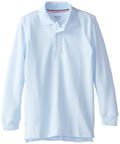 French Toast Big Boys' Long Sleeve Pique Polo, Light Blue, 10 by French Toast