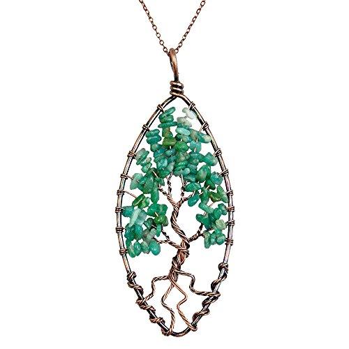 BAYUEBA Tree of life pendant Amethyst Peridot Necklace Chakra Mothers Day Gifts Amazonite