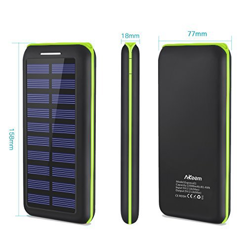 Power Bank Portable Solar Charger - 22000mAh with Dual Input & 3 USB Output Solar Charger, High-speed Charging Technology Battery Pack for iPhone, Samsung Galaxy and more (green) by Aikove (Image #5)