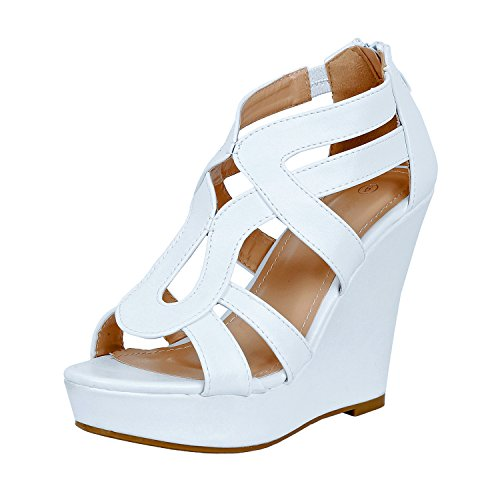 White High Wedge - Guilty Shoes Womens Gladiator Strappy Buckles - High Heel Platform Wedge Sandals (7.5 B(M) US, Whitev2 Pu)