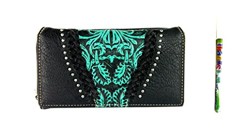 trinity-ranch-floral-tooled-braided-secretary-style-western-womens-wallet-pen-jp-black