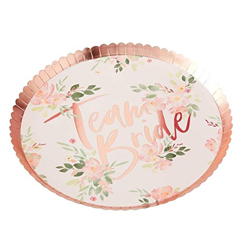 Bridal Shower Bachelorette Party Plates Paper Plates Disposable Plates Rose Gold Party Decorations Pink Floral 9.5 Inch Pk 16 ()
