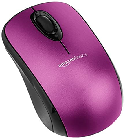 AmazonBasics Wireless Mouse with Nano Receiver - Purple (Mouse Wireless Amazon)