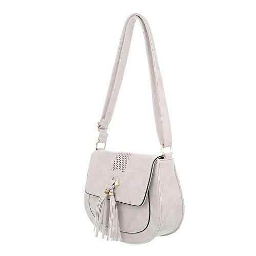 Damen Tasche Handtasche Used Optik Umhängetasche Schultertaschen Umhängetasche Shopper Tasche Henkeltasche Beuteltasche Hellgrau PsYPJ0Kn89