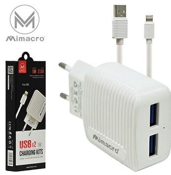 Mimacro Adaptador Cargador 2 en 1 set de cable de carga ...