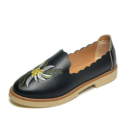 GilesJones Loafers Flat for Women,Casual Embroider Round Toe Flat Oxford Shoes