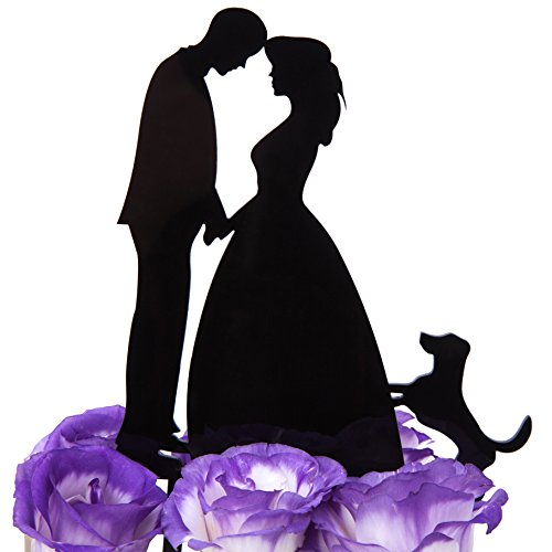 LOVENJOY with Gift Box Kissing Bride Groom and Dog Animal Silhouette Wedding Cake Decoration Topper (5.3-inch, Black)