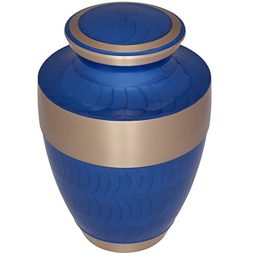 Funeral Urn by Liliane Memorials - Cremation Urn for Human Ashes - Hand Made in Brass - Suitable for Cemetery Burial or Niche - Large - Fits remains of Adults up to 200 lbs - Banda Model (Blue) by Liliane Memorials (Image #2)