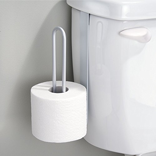 mDesign Aluminum Metal Modern Over-The-Tank Toilet Paper Holder Organizer for Bathroom Extra Organizing Storage, Set of 2, Silver by mDesign (Image #5)