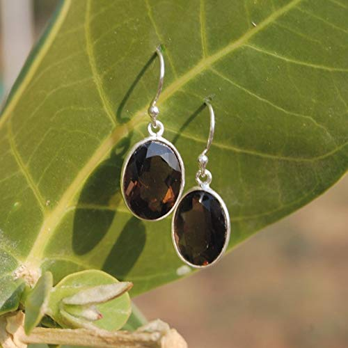 Smoky Quartz Solid 925 Sterling Silver Earrings for Womens Gift, Earrings for Mothers Day, Easter Gift, More Gemstones Available