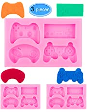 EAONE 3Pack Game Controller Silicone Mold, Gamepad Fondant Mold Video Game Controller Mold for Chocolate, Candy, Cake, Cupcake Decoration, Resin and Clay (Pink)