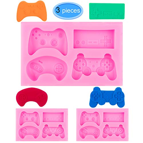 EAONE 3Pack Game Controller Silicone Mold, Gamepad Fondant Mold Video Game Controller Mold for Chocolate, Candy, Cake, Cupcake Decoration, Resin and Clay (Pink)]()